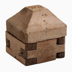 Molde de mantequilla sueco antiguo de madera, 1781