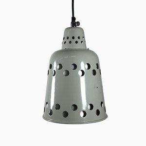 Lámpara colgante industrial pintada de gris, años 70