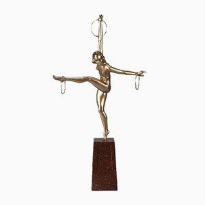 Sculpture Hoop Dancer Art Déco par Georges Duvernet, années 20