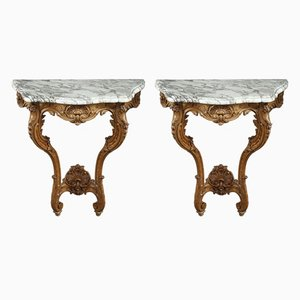 Antique Louis XV Style Console Tables with Marble Tops, Set of 2