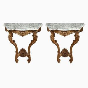 Mesas consola estilo Luis XV antiguas con tableros de mármol. Juego de 2
