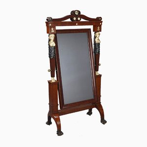 Antique French Mahogany Veneer Cheval Floor Mirror