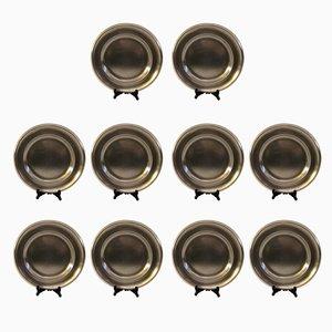 Piatti vintage placcati in argento, anni '20, set di 10