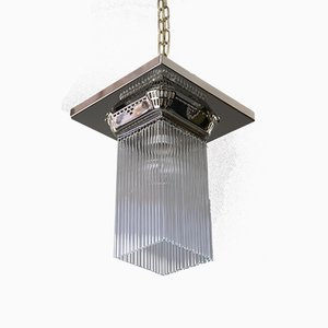 Art Deco Nickel-Plated Ceiling Lamp, 1920s