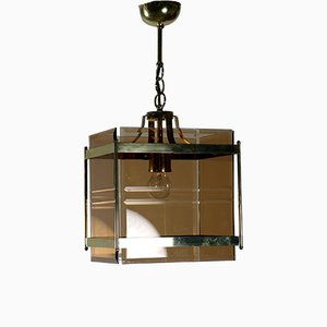 Vintage Glass & Brass Ceiling Lamp, 1970s