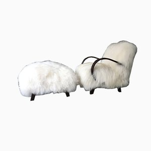 Mid-Century Sheepskin and Bentwood Armchair and Ottoman by Jindřich Halabala, Set of 2