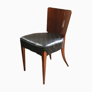 Walnut Veneer and Black Faux Leather H-214 Chairs by J. Halabala, 1930s