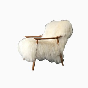 Mid-Century Bentwood and White Sheepskin Armchair