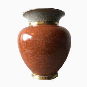 Grand Vase Cracké Crakle avec Décoration Feuille Dorée de Royal Copenhagen, 1961