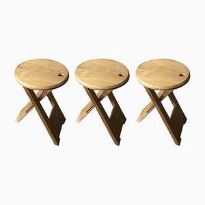 Vintage Beech Folding TS Stools by Roger Tallon for Sentou, Set of 3