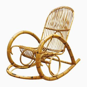 Rattan Rocking Chair from Rohé Noordwolde, 1960s