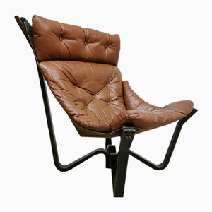 Brown Leather Lounge Chair by Jim Myrstad for Brunstad, 1970s