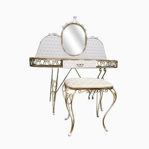 French Dressing Table and Stool, 1950s, Set of 2