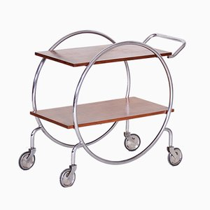 Vintage Bauhaus Czech Chrome & Oak Trolley, 1920s