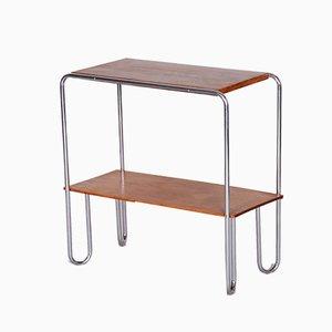Petite Table d'Appoint Bauhaus Tchèque en Chrome et en Chêne de Mücke Melder, années 30