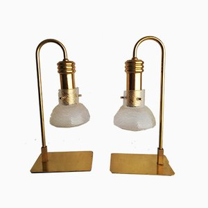 Golden Brass Table Lamps, 1970s, Set of 2