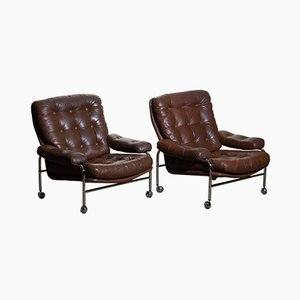 Swedish Chrome and Leather Lounge Chairs from Scapa Rydaholm, 1970s, Set of 2