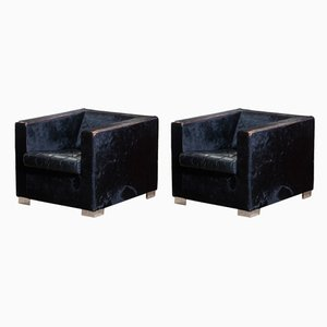 Black Leather Lounge Chairs by RODOLFO DORDONI for Minotti, 1990s, Set of 2