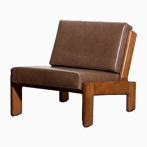 Sessel mit Gestell aus Eiche & Bezug aus Leder von Esko Pajamies für Asko, 1960er