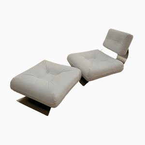 White Brazilia ON1 Lounge Chair & Ottoman Set by Oscar Niemeyer for Mobilier International, 1970s