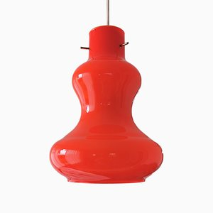 Lámpara de techo de cristal de Murano naranja de Massimo Vignelli para Vistosi, años 60