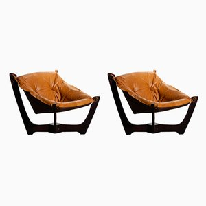 Vintage Leather Luna Lounge Chairs by Odd Knutsen for Hjellegjerde, 1970s, Set of 2