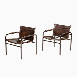 Leather and Tubular Steel Klinte Armchairs by Tord Bjorklund, 1980s, Set of 2