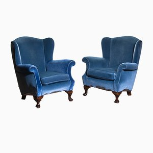 Swedish Hollywood Regency Club Chairs, 1920s, Set of 2