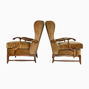 Mid-Century Velvet Lounge Chairs by Paolo Buffa, Set of 2