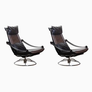 Swivel Chairs by Åke Fribytter for Nelo Möbel, 1970s, Set of 2