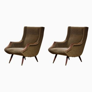 Italian Lounge Chairs by Aldo Morbelli for ISA Bergamo, 1950s, Set of 2