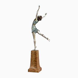 Escultura de bailarina Art Déco de Pierre Le Faguays, años 30