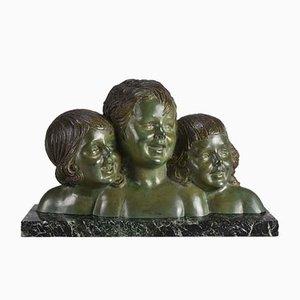 Escultura Three Girls vintage de Demetre Chiparus, años 20