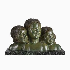 Vintage Three Girls Skulptur von Demetre Chiparus, 1920er