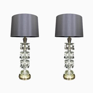 American Hollywood Regency Crystal Glass Table Lamps from Paul Hanson, 1950s, Set of 2