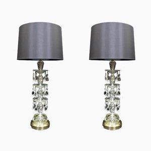 Lámparas de mesa estadounidenses Hollywood Regency de cristal de Paul Hanson, años 50. Juego de 2