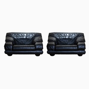 Brutalist Black Leather Lounge Chairs from WIENER WERKSTATTE, 1970s, Set of 2