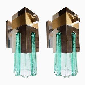 Apliques de latón, metal cromado y vidrio de Gaetano Sciolari para Sciolari, años 70. Juego de 2