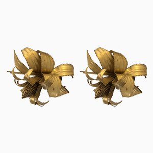 Vintage Brass Sconces, 1950s, Set of 2