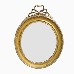 Large Oval Antique French Gilt Wood Mirror