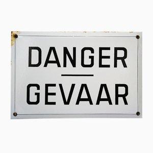 Señal de peligro belga vintage, años 40