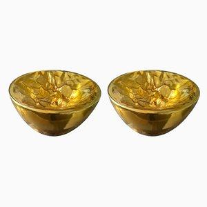 Lampade da tavolo grandi in vetro di Murano traslucido color oro di Carlo Nason per Mazzega, anni '90, set di 2
