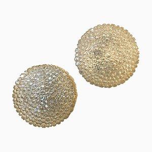 Apliques de cristal de Murano iridiscente beige de Limburg, años 60. Juego de 2