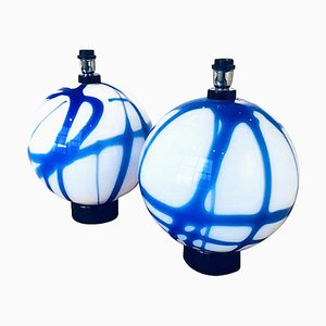 Large Round White & Blue Murano Glass Table Lamps, 1960s, Set of 2