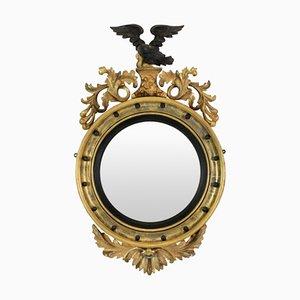 Espejo convexo inglés estilo Regency antiguo, década de 1840