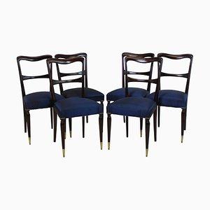 Italienische Esszimmerstühle mit Gestell aus Buche & Bezug aus Seide, 1950er, 6er Set