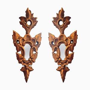 Specchi piccoli in legno dorato, anni '20, set di 2