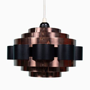 Mid-Century Danish Copper Ceiling Lamp by Werner Schou for Coronell Elektro