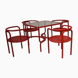 Tavolo da giardino vintage rosso con sedie di Gae Aulenti per Poltronova, 1964
