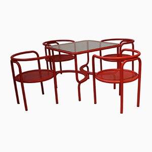 Vintage Red Garden Table & Chair Set by Gae Aulenti for Poltronova, 1964